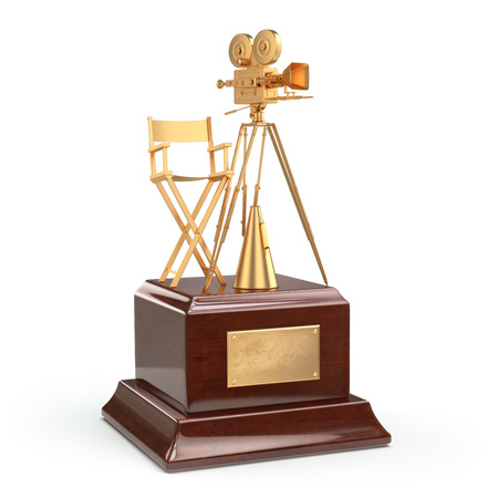 movie camera: Film award. Gold vintage movie camera and chair of the director. 3d
