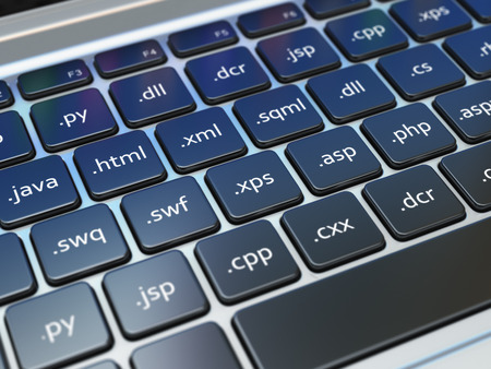 Web design development concept, Programming or SEO  termnes on the laptop keyboard. 3d Stock Photo