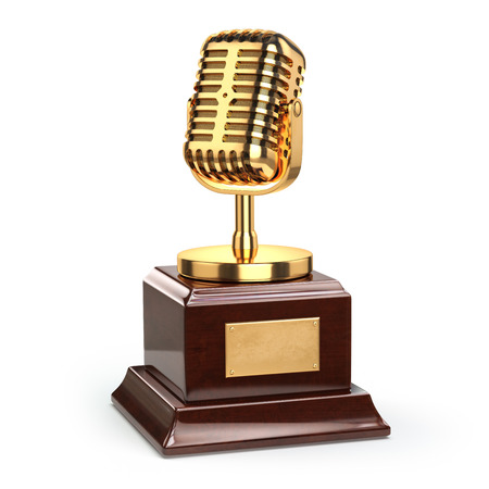 trophies: Music or journalism award concept. Gold microphone isolated on white. 3d Stock Photo