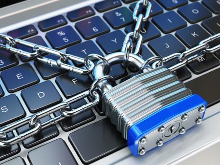 コンピューターのセキュリティや安全性の概念。ノート パソコンのキーボード ロックとチェーン。3 d 写真素材