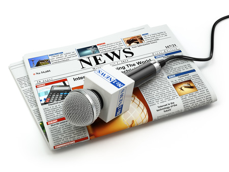 new media: News or journalism concept. Microphone on the newspaper isolated on white. 3d