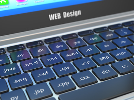 function key: Web design development concept, Programming or SEO  termnes on the laptop keyboard. 3d Stock Photo