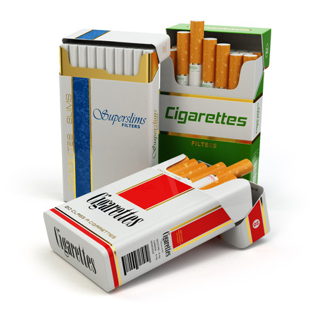 Opened packs of cigarettes isolated on white. 3d Stock Photo