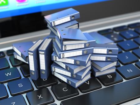 アーカイブやデータベースの概念。データ ストレージ。ラップトップ、リング バインダー、ファイル キャビネット。3 d