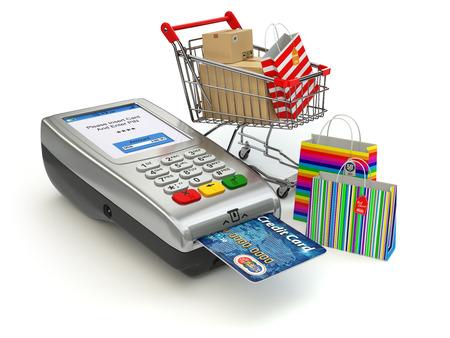 Het winkelen online concept. Pos terminal met credit card en winkelwagentje en tas met aankopen. 3d