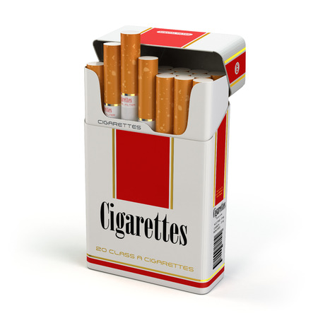 Cigarette pack on white isolated background. 3d 스톡 콘텐츠