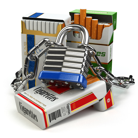 anti tobacco: Stop smoking concept. Pack of cigarettes and lock with chain. 3d Stock Photo