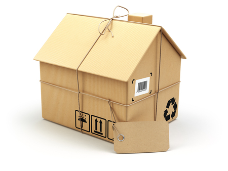 Delivery concept. Moving house.Real estate market.  Cardboard box as home isolated on white. 3d