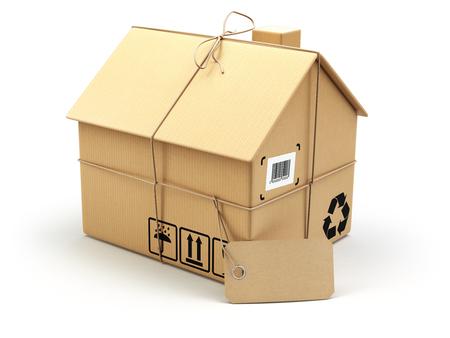 Levering concept. Bewegende house.Real goed markt. Kartonnen doos als thuis geïsoleerd op wit. 3d Stockfoto