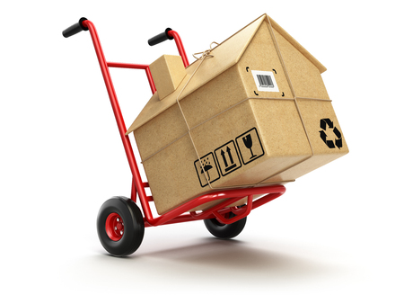 packing: Delivery or moving houseconcept. Hand truck with cardboard box as home isolated on white. 3d