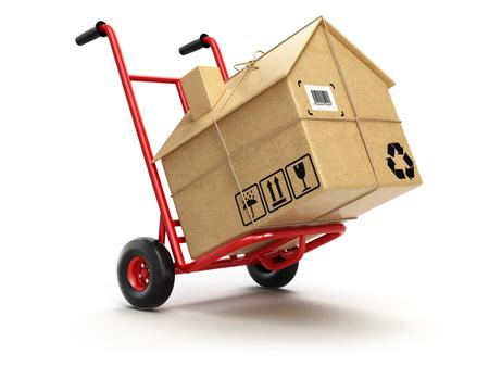 Entrega o houseconcept en movimiento. Carro de mano con la caja de cartón como en casa aislada en blanco. 3d