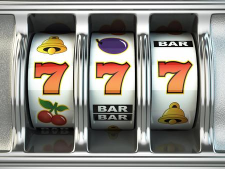 Máquina tragaperras con bote. casino concepto. 3d