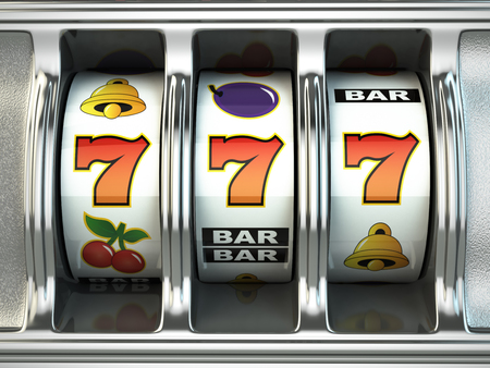 machine: Slot machine with jackpot. Casino concept. 3d Stock Photo