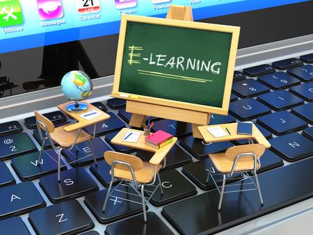 E ラーニング、オンライン教育の概念。ノート パソコンのキーボードに黒板や学校の机。3 d