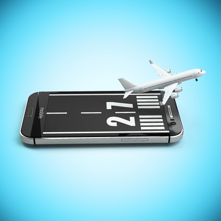 aircraft: Booking or buying airline tickets online concept. Smartphone or mobile phone with runway and airplane. 3d