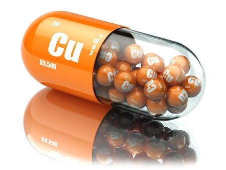 cobre: Píldoras con el cuprum en cobre Cu. Suplementos dietéticos. Las cápsulas de vitamina. 3d