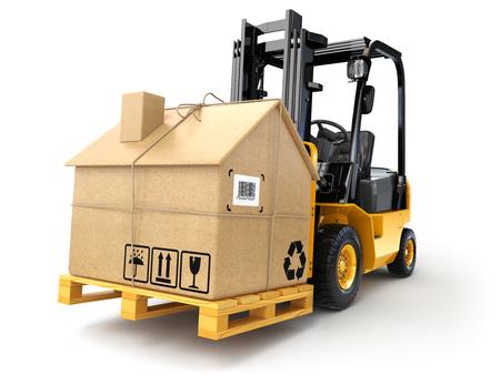 配信または移動 houseconcept。段ボール箱をフォーク リフトの白で隔離の家として。3 d