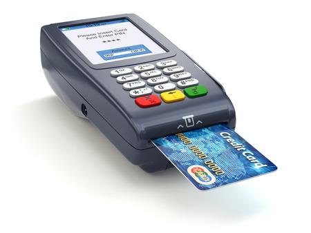 TPV con tarjeta de crédito aislado en blanco. Pago. 3d Foto de archivo