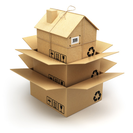 움직이는 집. 화이트 절연 홈 골 판지 상자입니다. 부동산 시장입니다. 배달 개념입니다. 3d 스톡 콘텐츠
