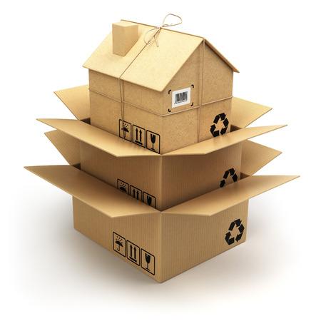 Verhuizen. Kartonnen doos als thuis geïsoleerd op wit. Vastgoedmarkt. Levering concept. 3d Stockfoto