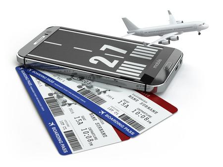 La compra de los billetes de avión en línea del concepto. Smartphone o teléfono móvil con pista de aterrizaje, avión y tarjeta de embarque. 3d
