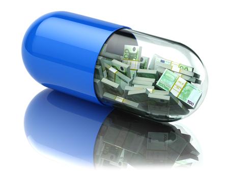 Euro packs in de capsule, pil. kosten van de gezondheidszorg of het concept financiële hulp. 3d Stockfoto