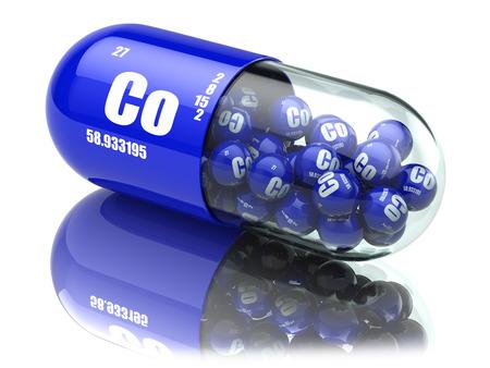 코발트 Co 성분이 들어있는 알약 다이어트 보조제. 비타민 캡슐. 3d