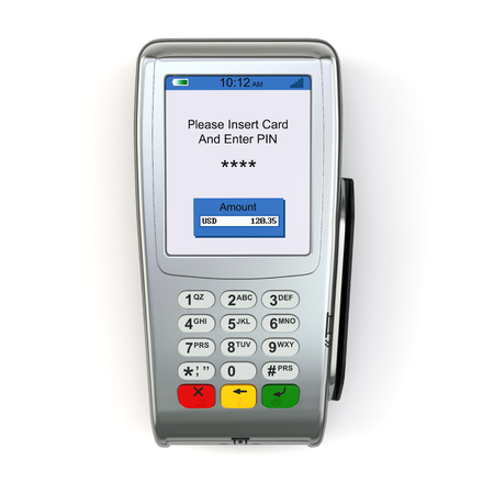 POS terminal isolated on white background. 3d Фото со стока