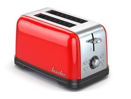 Toaster. Kitchen appliance, equipment isolated on white. 3d Imagens