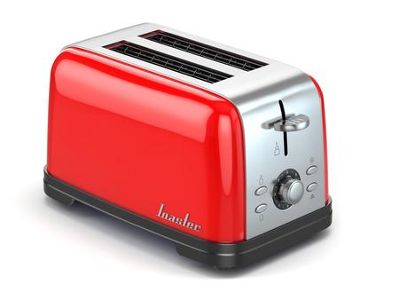 Tosti apparaat. Keuken apparaat, apparatuur op wit wordt geïsoleerd. 3d