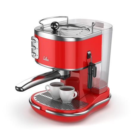Koffiemachine met kopjes geïsoleerd op wit. 3d Stockfoto