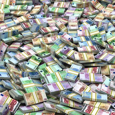 banco dinero: Euro paquetes montón de fondo. Concepto financiero. 3d Foto de archivo