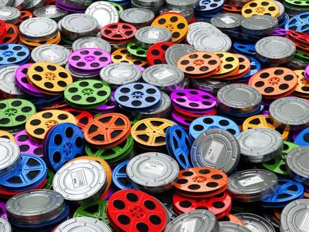 apilar: Películas concepto de colección. Cine, películas, vídeo, carretes de fondo. 3d Foto de archivo