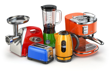 kitchen appliances: Kitchen appliances. Blender, toaster, coffee machine, meat ginder and kettle isolated on white. 3d