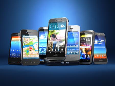 휴대 전화를 선택합니다. 파란색 배경에 다른 스마트 폰의 행입니다. 3 차원 스톡 콘텐츠