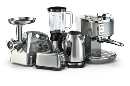 Metallic kitchen appliances. Blender, toaster, coffee machine, meat ginder and kettle isolated on white. 3d Imagens