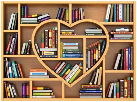 Concepto de la educación. Estantería con libros y libros de texto en forma de corazón. Me encanta leer. 3d Foto de archivo