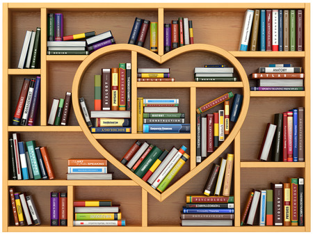 library shelf: Education concept. Bookshelf with books and textbooks in form of heart. I love reading. 3d