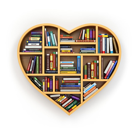 dilapidated: Education concept. Bookshelf with books and textbooks in form of heart. I love reading. 3d