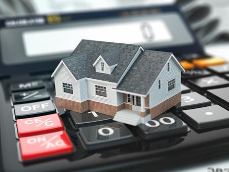 impuestos: calculadora de hipotecas. Casa en los botones. Concepto de bienes raíces. 3d