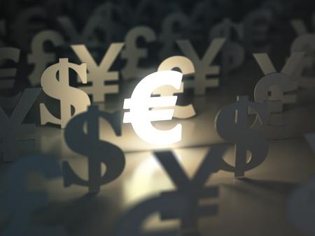 유로, 달러, 파운드 및 엔 기호입니다. 환전 개념입니다. 3 차원