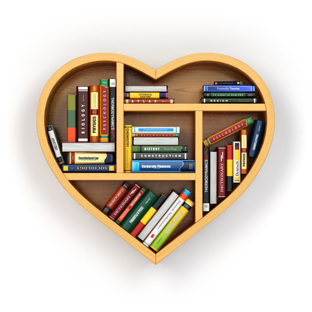 dilapidated: Education concept. Bookshelf with books and textbooks in form of heart. 3d Stock Photo