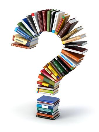 Question mark dans les livres. La recherche d'information ou FAQ concept edication 3d