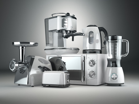 Kitchen appliances. Blender, toaster, coffee machine, meat ginder, microwave oven and kettle. 3d Standard-Bild