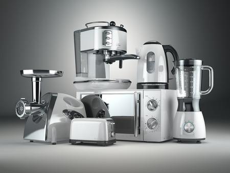 Keukenapparatuur. Blender, broodrooster, koffiezetapparaat, vlees ginder, magnetron en een waterkoker. 3d