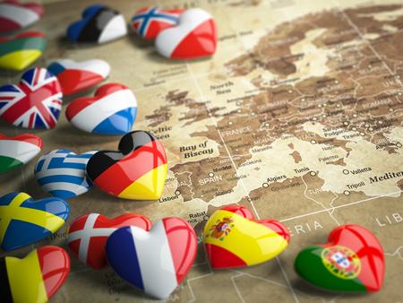 Karte von Europa und Herzen mit Flaggen der europäischen Länder. Reisen EU-Konzept. 3d