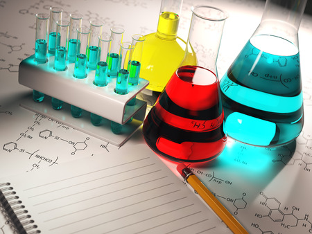 volumetric flask: Science chemistry concept.Laboratory test tubes and flasks with colored liquids. 3d Stock Photo