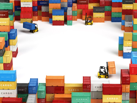 trade: Cargo shipping containers in storage area with forklifts and space for text. Delivery transportation concept. 3d Stock Photo