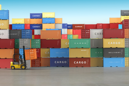 Delivery or warehouse  background concept. Cargo shipping containers in storage area with forklifts. 3d Standard-Bild