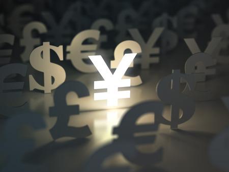 dollaro: segni Yen, dollaro, euro, e Pound. concetto di cambio valuta. 3d